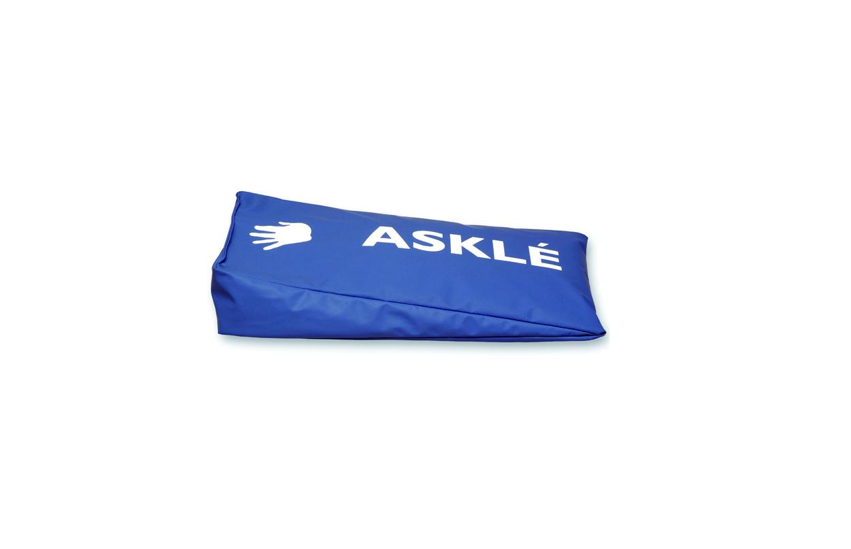 Almofada para membros superiores, em formato de cunha, azul, vista na horizontal