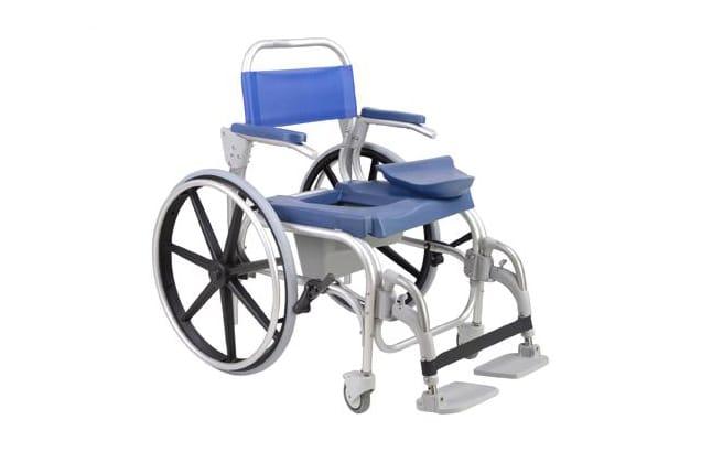 bea068e54 Cadeira de banho azul com estrutura em alumínio, vista de perfil