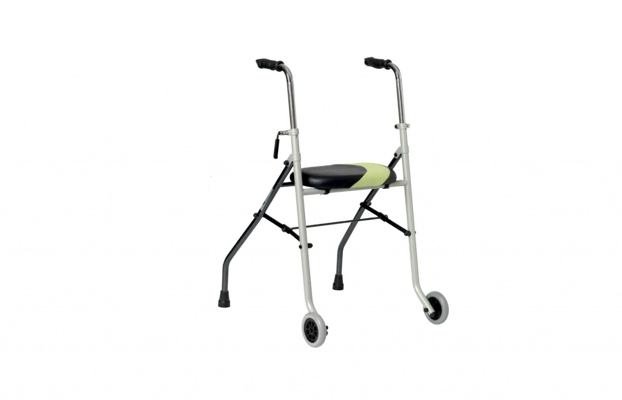 Andarilho com assento verde e preto, visto de perfil.